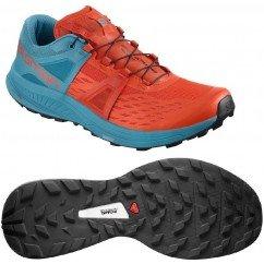 chaussures de trail running pour hommes salomon ultra pro 404921 cherry tomato / fjord blue