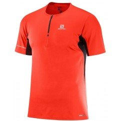 tee shirt de running pour hommes salomon agile hz ss tee fiery red l402193
