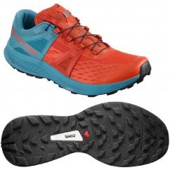 chaussures de trail running pour hommes salomon ultra pro 404921 cherry tomato / fjord blue