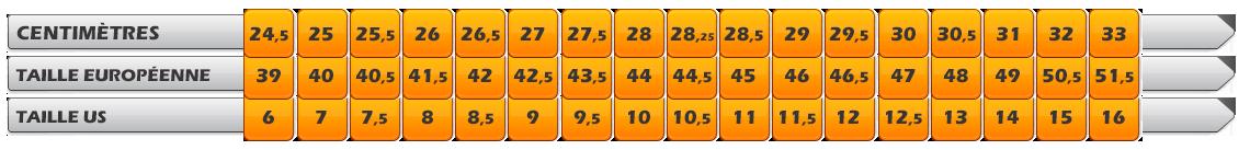 Guide des tailles Asics Gel Nimbus 21 Lite Show