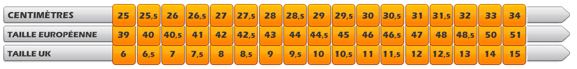 Guide des tailles MIZUNO WAVE RIDER 22